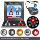 Παιχνίδι Arcade με τα πηδάλια και τα κουμπιά Στοκ φωτογραφία με δικαίωμα ελεύθερης χρήσης