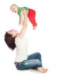 Παιχνίδι Mom με το μωρό στοκ εικόνα
