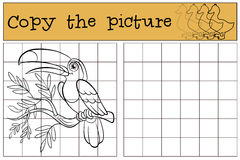 Παιχνίδια παιδιών: Αντιγράψτε την εικόνα Ελάχιστα χαριτωμένος toucan Στοκ Εικόνες