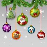 Παιχνίδια σφαιρών Χριστουγέννων διανυσματική απεικόνιση