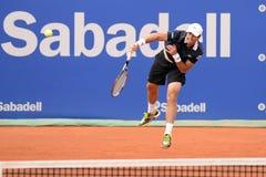 Παιχνίδια του Pablo Andujar (ισπανικός τενίστας) στο ATP Βαρκελώνη Στοκ εικόνα με δικαίωμα ελεύθερης χρήσης