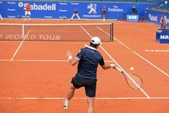 Παιχνίδια του Pablo Andujar (ισπανικός τενίστας) στο ATP Βαρκελώνη Στοκ Φωτογραφία