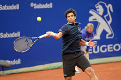 Παιχνίδια του Pablo Andujar (ισπανικός τενίστας) στο ATP Βαρκελώνη Στοκ Εικόνα
