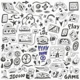 Παιχνίδια υπολογιστών - doodles θέστε διανυσματικός Στοκ εικόνα με δικαίωμα ελεύθερης χρήσης