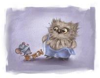 Παιχνίδια Owlet με το ποντίκι Στοκ Φωτογραφίες