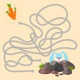 Παιχνίδι λαβυρίνθου Εκπαιδευτικός λαβύρινθος για τα παιδιά με κουνέλι και δύο τρόπους να βρεθεί το καρότο διανυσματική απεικόνιση