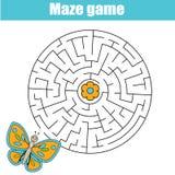 Παιχνίδι λαβυρίνθου: θέμα ζώων Φύλλο δραστηριότητας παιδιών ελεύθερη απεικόνιση δικαιώματος