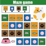 Παιχνίδι λαβυρίνθου, θέμα ζώων Φύλλο δραστηριότητας παιδιών Λαβύρινθος λογικής με τη ναυσιπλοΐα κώδικα η γάτα βοήθειας βρίσκει τα απεικόνιση αποθεμάτων