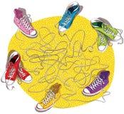 Παιχνίδι λαβυρίνθου πάνινων παπουτσιών Στοκ φωτογραφία με δικαίωμα ελεύθερης χρήσης