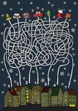 Παιχνίδι λαβυρίνθου Χριστουγέννων Στοκ εικόνες με δικαίωμα ελεύθερης χρήσης