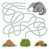 Παιχνίδι λαβυρίνθου: anteater και μυρμηγκοφωλιά ελεύθερη απεικόνιση δικαιώματος