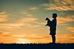 Παιχνίδι αγοριών σκιαγραφιών με λίγο σκυλί Στοκ Φωτογραφίες