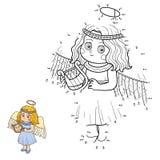 Παιχνίδι αριθμών για τα παιδιά: Χαρακτήρες αποκριών (άγγελος) Στοκ Εικόνα