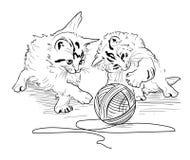 Παιχνίδι γατακιών με τη δεσμίδα των νημάτων Στοκ Εικόνα