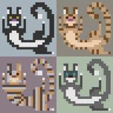 Παιχνίδι γατών τέχνης εικονοκυττάρου απεικόνισης Στοκ Εικόνα
