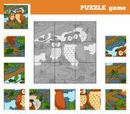 Παιχνίδι γρίφων για τα παιδιά με τα ζώα (κουκουβάγια) ελεύθερη απεικόνιση δικαιώματος