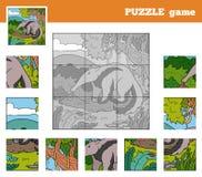 Παιχνίδι γρίφων για τα παιδιά με τα ζώα (anteater) διανυσματική απεικόνιση