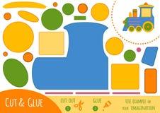 Παιχνίδι εγγράφου εκπαίδευσης για τα παιδιά, τραίνο διανυσματική απεικόνιση