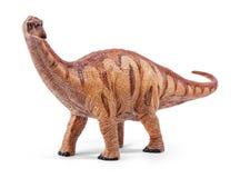 Παιχνίδι δεινοσαύρων Apatosaurus που απομονώνεται στο άσπρο υπόβαθρο με το ψαλίδισμα της πορείας Στοκ Εικόνα