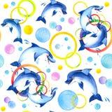 Παιχνίδι δελφινιών Watercolor Στοκ Εικόνες