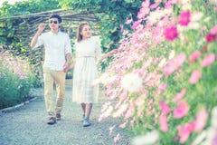Παιχνίδι ζεύγους στα λουλούδια κήπων συνδεδεμένο διάνυσμα βαλεντίνων απεικόνισης s δύο καρδιών ημέρας Στοκ εικόνες με δικαίωμα ελεύθερης χρήσης