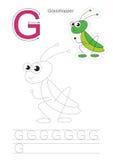 Παιχνίδι ιχνών για το γράμμα Γ Grasshopper Στοκ εικόνα με δικαίωμα ελεύθερης χρήσης