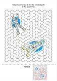 Παιχνίδι λαβυρίνθου εξερεύνησης του διαστήματος για τα κατσίκια Στοκ Φωτογραφία
