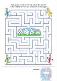 Παιχνίδι λαβυρίνθου και χρωματίζοντας σελίδα για τα παιδιά Στοκ φωτογραφία με δικαίωμα ελεύθερης χρήσης