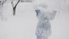 Παιχνίδι με το χιόνι απόθεμα βίντεο
