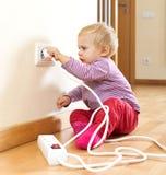 Παιχνίδι μικρών παιδιών με τον ηλεκτρικό εξοπλισμό Στοκ εικόνα με δικαίωμα ελεύθερης χρήσης