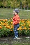 Παιχνίδι μικρών παιδιών στην παιδική χαρά στο πάρκο φθινοπώρου Στοκ φωτογραφίες με δικαίωμα ελεύθερης χρήσης