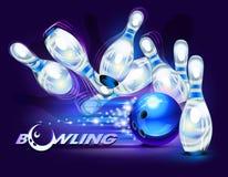 Παιχνίδι μπόουλινγκ πέρα από το μπλε διανυσματική απεικόνιση