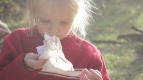 Παιχνίδι παιδιών κοριτσιών με τους κλάδους απόθεμα βίντεο