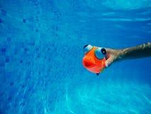 Παιχνίδι παιδιών με το γενικό λαστιχένιο παιχνίδι ψαριών στην πισίνα Στοκ φωτογραφία με δικαίωμα ελεύθερης χρήσης