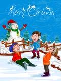 Παιχνίδι παιδιών με το χιονάνθρωπο στο υπόβαθρο διακοπών Χαρούμενα Χριστούγεννας διανυσματική απεικόνιση