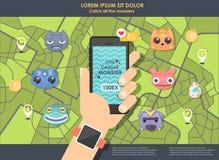 Παιχνίδι ΠΣΤ για το τηλέφωνο ψηφιακό χέρι μορφής ηλεκτρονικού ταχυδρομείου που κρατά την κινητή τηλεφωνική αποστολή Θέσεις παιχνι διανυσματική απεικόνιση