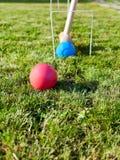 Παιχνίδι του κροκέ στον πράσινο χορτοτάπητα Στοκ φωτογραφίες με δικαίωμα ελεύθερης χρήσης