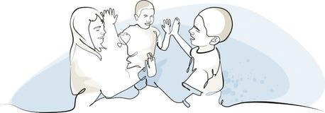 Παιχνίδι τριών παιδιών Στοκ εικόνα με δικαίωμα ελεύθερης χρήσης