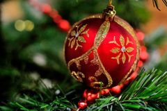Παιχνίδι Χριστουγέννων σε έναν κλάδο Στοκ φωτογραφίες με δικαίωμα ελεύθερης χρήσης