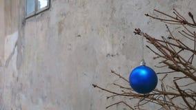 Παιχνίδι Χριστουγέννων σε έναν ξηρό κλάδο δέντρων έλατου Στοκ Φωτογραφίες