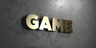 Παιχνίδι - χρυσό σημάδι που τοποθετείται στο στιλπνό μαρμάρινο τοίχο - τρισδιάστατο δικαίωμα ελεύθερη απεικόνιση αποθεμάτων Στοκ φωτογραφία με δικαίωμα ελεύθερης χρήσης
