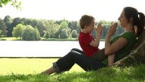 Παιχνίδι Mum και γιων κάτω από ένα δέντρο φιλμ μικρού μήκους