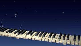 Παιχνίδι pianist φαντασμάτων με τις σημειώσεις που αυξάνονται από το πληκτρολόγιο στη νύχτα απόθεμα βίντεο