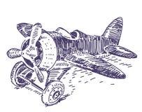 Παιχνιδιών αεροπλάνων χέρι που σύρεται διανυσματικό Στοκ Εικόνες