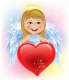 Παιδί αγγέλου και καρδιά ημέρας του βαλεντίνου Στοκ Εικόνα