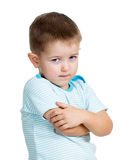 Παιδί αγοριών που ανατρέπεται που απομονώνεται στην άσπρη ανασκόπηση Στοκ Φωτογραφίες
