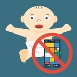 Παιδί και απαγόρευση σε κινητό απεικόνιση αποθεμάτων