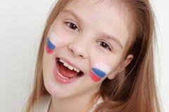 Παιδί και ρωσική σημαία Στοκ Εικόνες