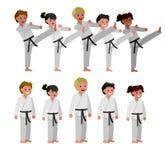 Παιδί κινούμενων σχεδίων που φορά το κιμονό, πολεμική τέχνη Στοκ εικόνα με δικαίωμα ελεύθερης χρήσης