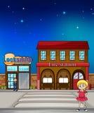 Παιδί, κλειδαράς και πυροσβεστικός σταθμός ελεύθερη απεικόνιση δικαιώματος